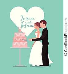 bride and groom cutting wedding cake greeting card
