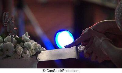 Bride and groom cutting wedding cake indoors