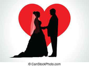 Bride and Groom - Silhouette illustration of a bride and...