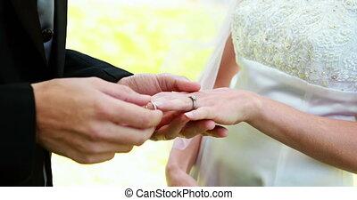 Bride and groom exchanging wedding