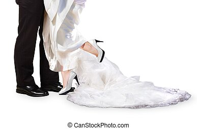 Bride and Groom Feet on Wedding Day