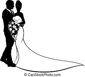 A bride and groom silhouette, in a bridal dress gown holding a floral wedding bouquet of flowers