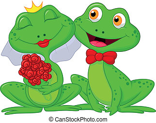 Bride and Groom Frogs Cartoon Chara - Vector illustration of...