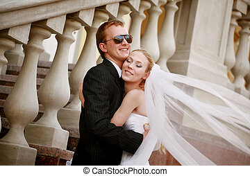 Bride and Groom - Happy young bride and groom portrait