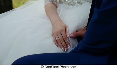 bride and groom holding hands video - bride and groom...