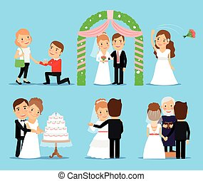 Wedding party vector characters