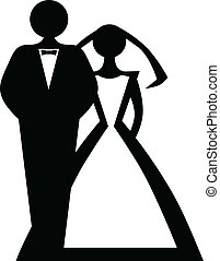 Bride and groom - Stylized black-and-white image of bride...