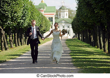 Bride and Groom in Love - A portrait of a newly married...