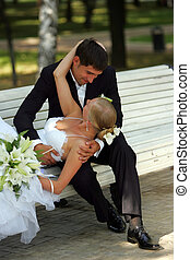Bride and groom in love romancing - A portrait of a newly ...