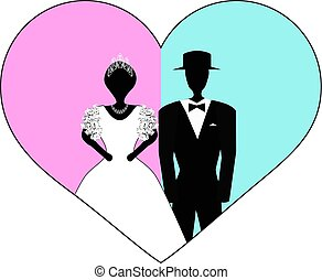 Bride and groom in pink blue heart. Vector illustration on isolated background.