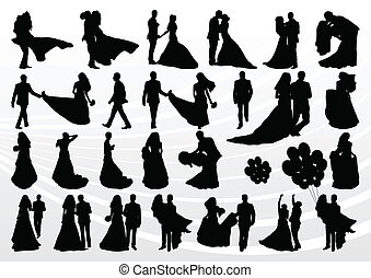 Bride and groom in wedding silhouettes illustration collection