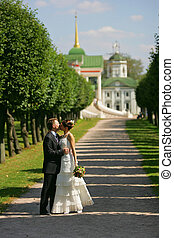 Bride and Groom kissing - A portrait of a newly maried bride...