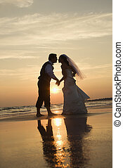 Bride and groom kissing. - Caucasian prime adult male groom ...