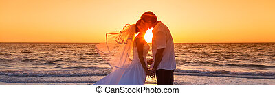 Bride and Groom Married Couple Sunset Beach Wedding Panorama