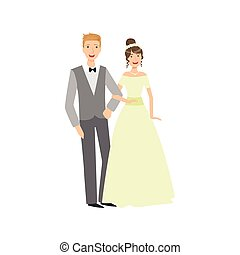 Bride And Groom Newlywed Couple In Traditional Greenish Wedding Dress And Suit Smiling And Posing For Photo