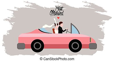 Bride and groom on a car. Just married couple