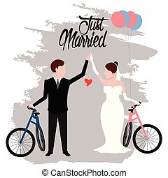 Bride and groom on bicycles. Just married couple