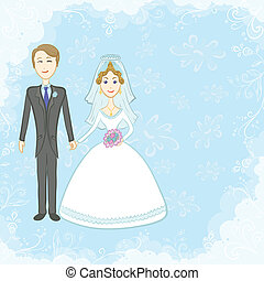 Bride and groom on blue background