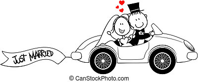 bride and groom on car isolated on white background, ideal for funny wedding invitation, vector format very easy to edit, individual objects