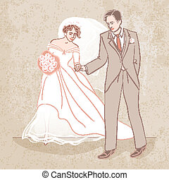 bride and groom on grungy background