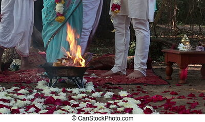 bride and groom on Indian wedding ceremony - bride and groom...