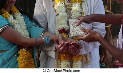 bride and groom on Indian wedding ceremony - the bride and...