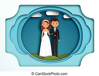 Bride and groom on paper art background. Vector.