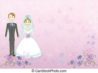 Bride and groom on pink floral background