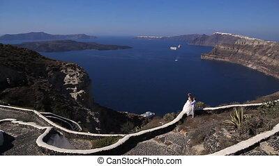 Bride and groom on Santorini island