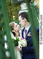 Bride and groom on wedding walk