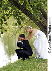 Bride and groom playful in love