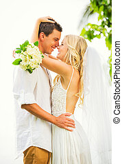 Bride and Groom, Romantic Newly Married Couple Embracing, Just Married