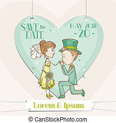 Bride and Groom - Save the Date Wedding Card - in vector