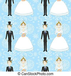Bride and Groom Seamless Pattern