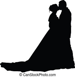 Bride and groom silhouette - A bride and groom on their...