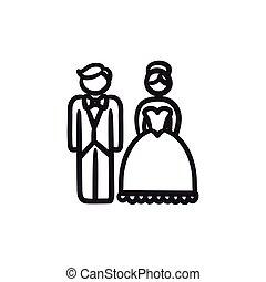Bride and groom sketch icon.