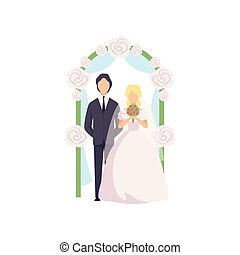 Bride and groom standing near the wedding arch at ceremony vector Illustration on a white background