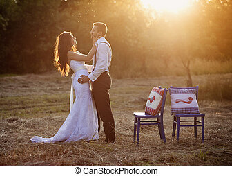 Bride and groom - Beautiful bride and groom portrait in...