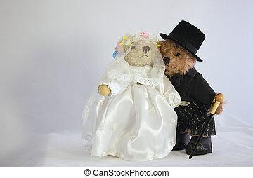 teddies dressed as bride and groom