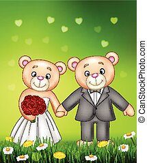 Bride and groom teddy bears getting married