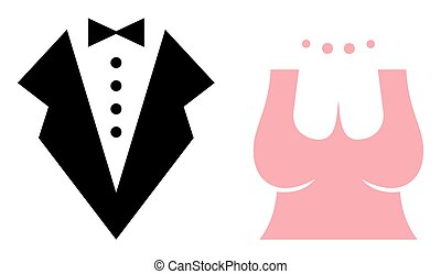Bride and Groom Vector Icons