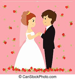 Bride and Groom Vector Illustration Surrounded By Falling Red Roses on Pink Background