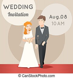 Bride and groom. Vector template wedding invitation