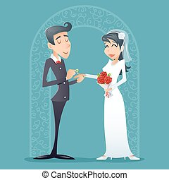 Bride and Groom Vintage Happy Smiling Male Female Symbol Icon Retro Cartoon Design Vector Illustration