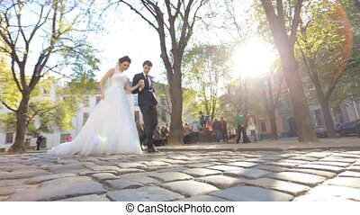 Bride and Groom Walking shot in slow motion  close up