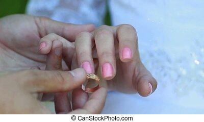 bride and groom wear wedding rings