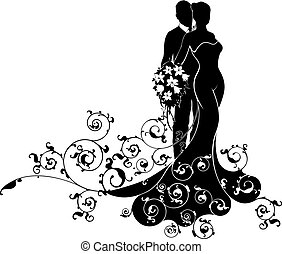 Wedding couple bride and groom husband and wife in silhouette, the bride in a white bridal wedding dress gown holding a floral bouquet of flowers and an abstract floral pattern