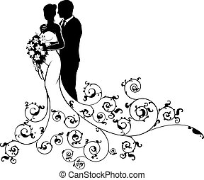 A bride and groom wedding couple in silhouette, in a white bridal dress gown holding a floral bouquet of flowers with an abstract floral pattern design