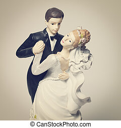 Bride and Groom - Wedding bride and groom couple doll with...