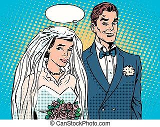 Bride and groom wedding ceremony pop art retro style. The...